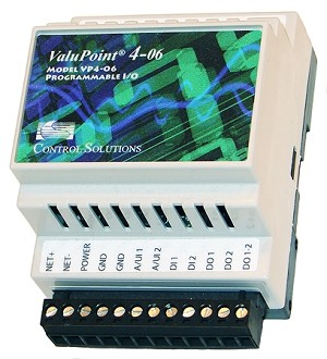 ValuPoint Model VP4-0630 Programmable I/O for BACnet MS/TP provides slave I/O, includes user programmable control, 2 analog/universal inputs, 2 discrete inputs, and 2 relay outputs, with all I/O accessible as BACnet objects.