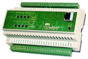 Model AM3-IP-MB includes the i.CanDoIt server, with alarm monitoring, email notification, scheduling and data logging. AM3-IP features 18 analog/universal inputs, four 4-20mA analog outputs, 2 pulse inputs, and 8 relay ouputs. Includes Modbus RTU master, Modbus TCP client and server, SNMP agent.