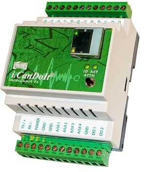AddMe Jr. i.CanDoIt Data Manager includes data logging, time & date scheduling, and template or rule based alarm processing, plus Basic programming. Its 14 I/O points include 12 analog/universal inputs (pulse on 2 inputs), 2 FET outputs, plus RTU gateway. Modbus registers accessible via Basic.