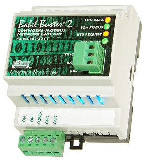 Babel Buster BB2-2011 is a universal LonWorks to Modbus RTU gateway used to make a single Modbus RTU RS-232 device accessible on a LonWorks network. BB2-2010 can be RTU master or slave, and can be bound to multiple LonWorks devices.