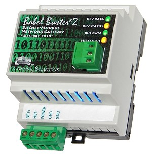 Babel Buster BB2-3010 is a BACnet MS/TP to Modbus RTU gateway. The BB2-3010 is an RTU master making Modbus RTU RS-485 devices accessible on a BACnet network. BB2-3010 can also be a BACnet client making BACnet devices accessible from a Modbus network. *** MTX002 needed for configuration.