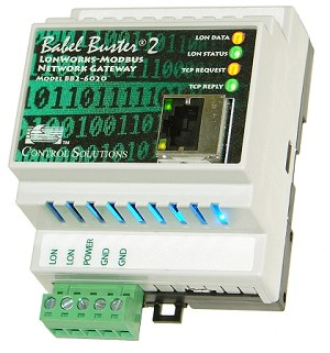 Babel Buster BB2-6020 is a universal LonWorks to Modbus TCP gateway used to make multiple Modbus TCP Ethernet devices accessible on a LonWorks network. BB2-6020 can be TCP client or server and can be bound to multiple LonWorks devices.
