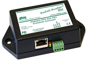 Babel Buster SPX-GW will translate Modbus RTU queries directly into Modbus TCP queries, or vice versa. Babel Buster SPX-GW is used to connect Modbus RTU devices to a Modbus TCP network, or Modbus TCP devices to a Modbus RTU network without register remapping.