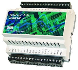 ValuPoint Model VP4-2810 Programmable I/O for Modbus RTU provides slave I/O, includes user programmable control, 12 discrete inputs, and 16 discrete (FET) outputs. VP4-2810 can operate as Modbus master or slave, with all I/O accessible as holding registers and/or coils.